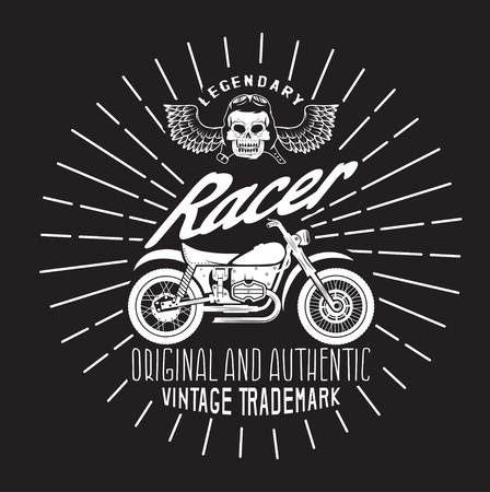 spurt: racer vintage print with motorcycle, wings and skull