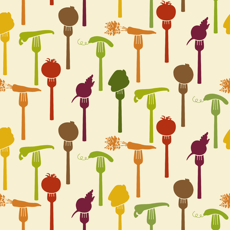 harvesting: Seamless pattern of vegetables on fork. Vector illustration