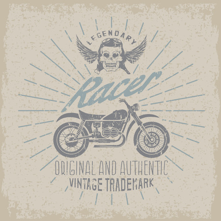 racer: racer grunge vintage print with motorcycle, wings and skull