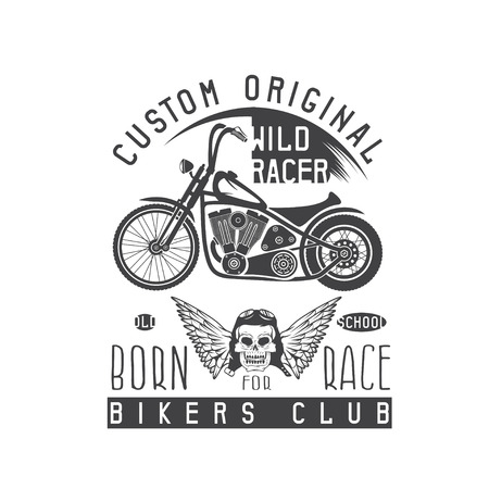 racer: wild racer vintage print with motorcycle, wings and skull