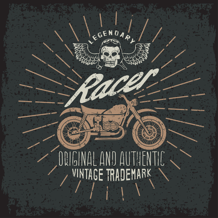 spurt: racer grunge vintage print with motorcycle, wings and skull