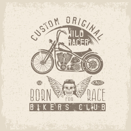 racer: wild racer grunge vintage print with motorcycle, wings and skull Illustration