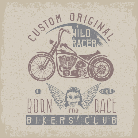 spurt: wild racer grunge vintage print with motorcycle, wings and skull Illustration