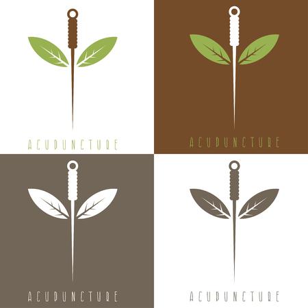 medicina tradicional china: Vector plantilla de diseño de la aguja de acupuntura y hojas