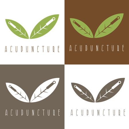 Vector plantilla de diseño de la aguja de acupuntura y hojas Ilustración de vector