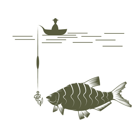 crucian: fisherman on boat and bream vector design template