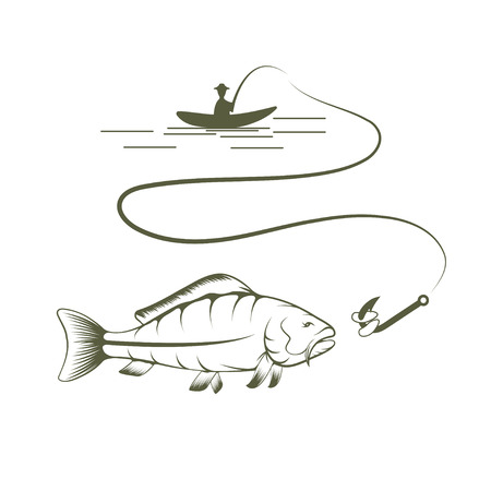 crucian: fisherman on boat and carp vector design template