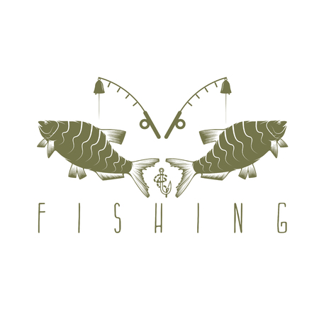 spawning: vintage fishing vector design template with breams Illustration