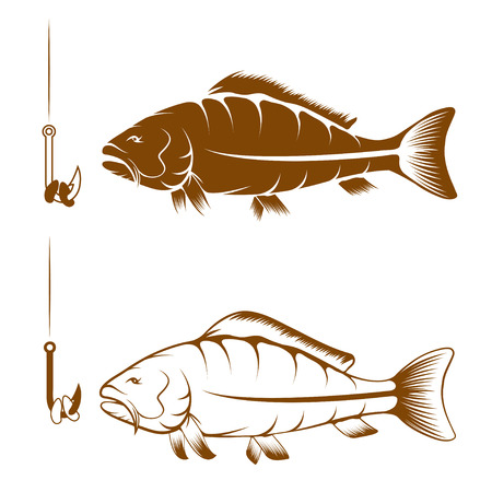 crucian: hook with beans and carp vector design template
