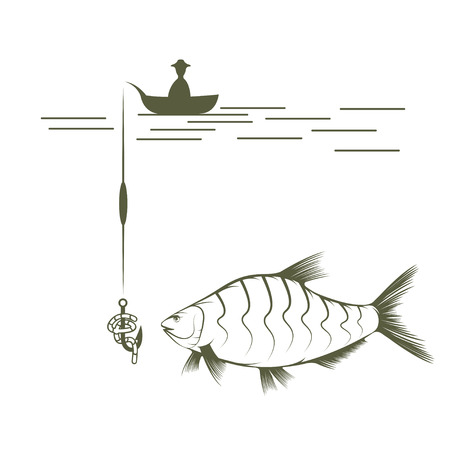 spawning: fisherman on boat and bream vector design template