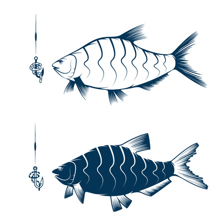 spawning: hook with worm and bream vector design template