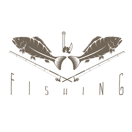 crucian: vintage fishing vector design template with carps Illustration