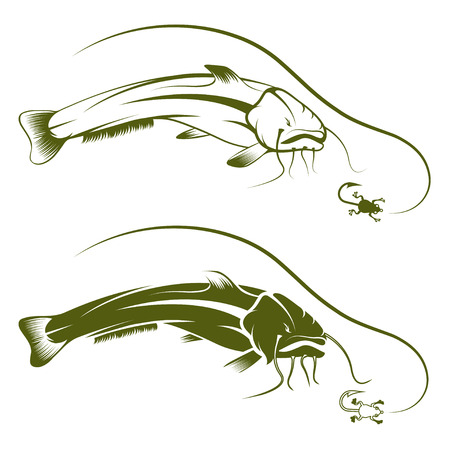 burbot: conectar con la rana y el vector de pez gato plantilla de dise�o