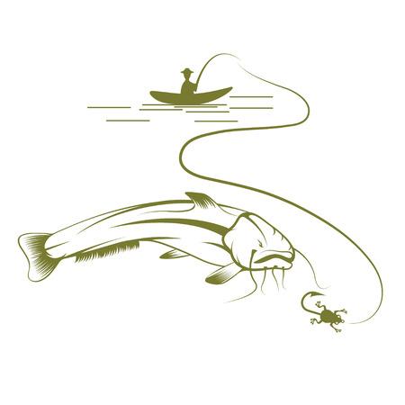 burbot: pescador en el barco y el vector de pez gato plantilla de diseño