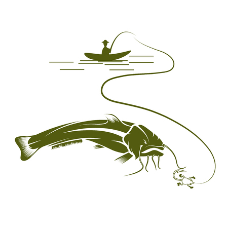 burbot: pescador en el barco y el vector de pez gato plantilla de dise�o