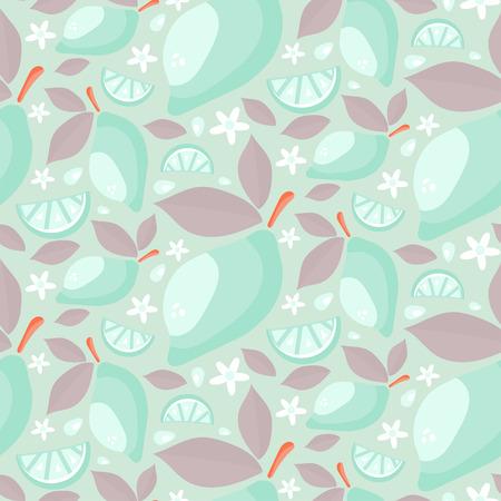 Bez szwu deseniu dojrzałych cytryn soczystych z liśćmi i kwiatami. Cartoon rysować tle. Ilustracji wektorowych Ilustracje wektorowe