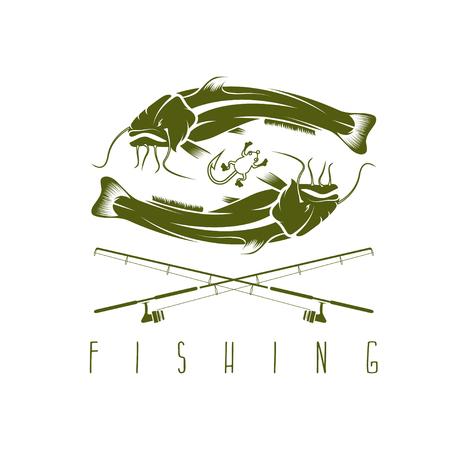 burbot: vector plantilla de dise�o de la vendimia con la pesca de bagre