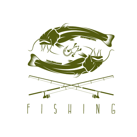 burbot: vintage fishing vector design template with catfish Vectores