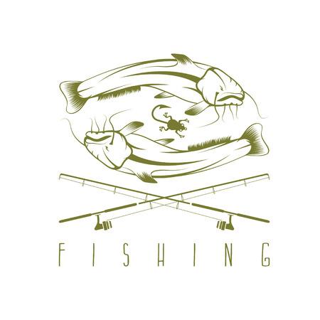 burbot: vector plantilla de diseño de la vendimia con la pesca de bagre