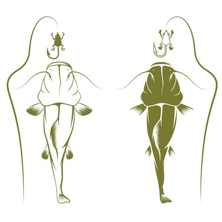 burbot: conectar con la rana y el vector de pez gato plantilla de diseño