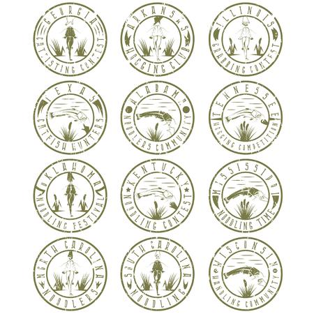 extremal: Noodling grunge labels set . Catching catfish with hand vintage labels set Illustration