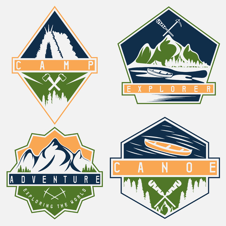extremal: canoe, camping and adventure vintage vector labels set