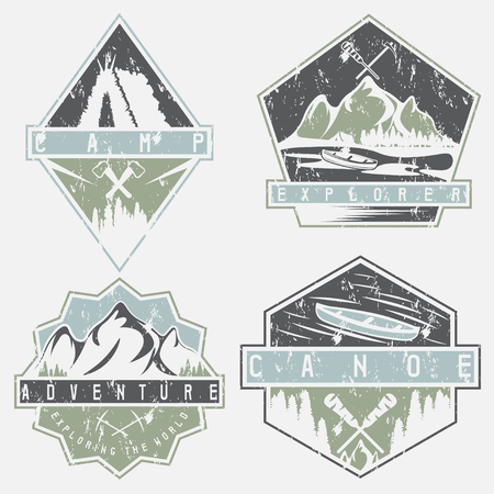 ice axe: canoe, camping and adventure vintage vector grunge labels set