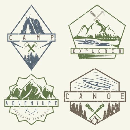 creek: canoe, camping and adventure vintage vector grunge labels set