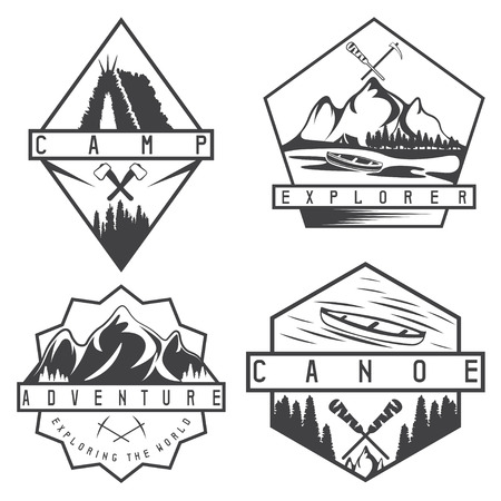 creek: canoe, camping and adventure vintage vector labels set