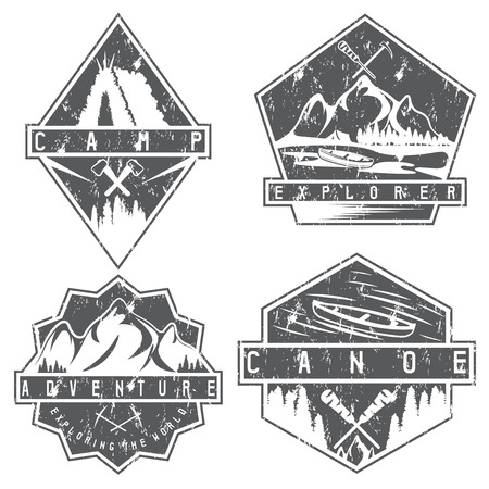 extremal: canoe, camping and adventure vintage vector grunge labels set