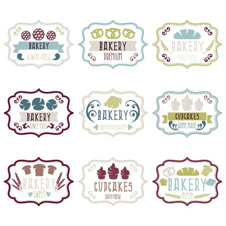 baked goods: Collection of vintage retro bakery logo labels with bread,pretzel,croissant,cupcake and spike. Vector illustration