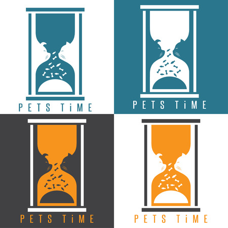 sandglass: negative space vector illustration with pets and sandglass
