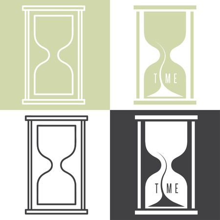 chronograph: set of concept vector illustration with sandglass