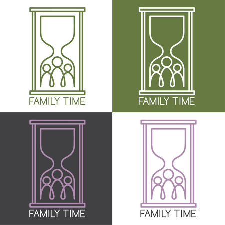 hour glass figure: set of concept vector illustration with family connection Illustration