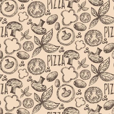 oregano: Seamless pattern hand drawn delicious pizza with tomatoes, mozzarella, champignons,oregano,pepper,onion and olives. Vector