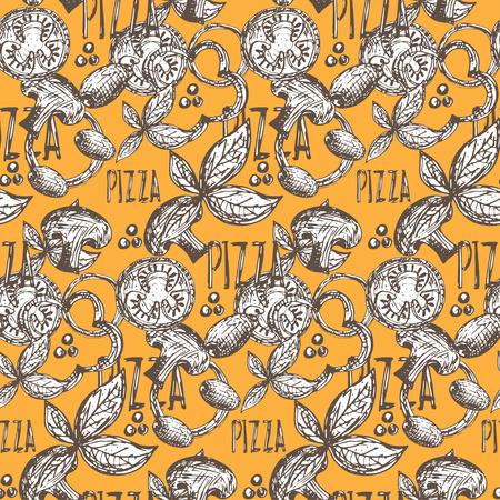 Nahtlose Muster Hand leckere Pizza mit Tomaten, Mozzarella, Champignons, Oregano, Pfeffer, Zwiebeln und Oliven gezogen. Vektor
