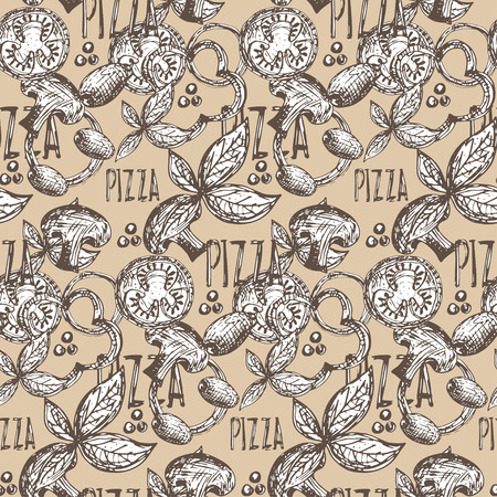 flavoring: Seamless pattern hand drawn delicious pizza with tomatoes, mozzarella, champignons,oregano,pepper,onion and olives. Vector
