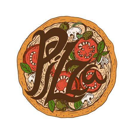 mozzarella: Illustration hand drawn delicious pizza with tomatoes, mozzarella, champignons,oregano,pepper,onion and olives. Vector