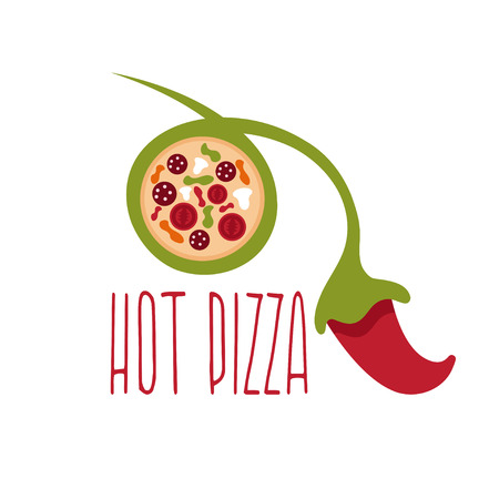 hot stones: hot pizza negative space concept with chili pepper