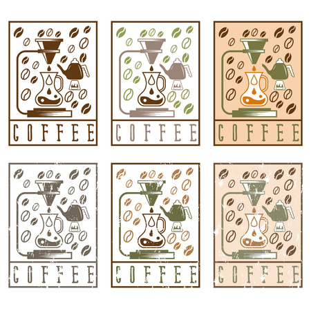 siphon: pour over coffee vector labels vintage set