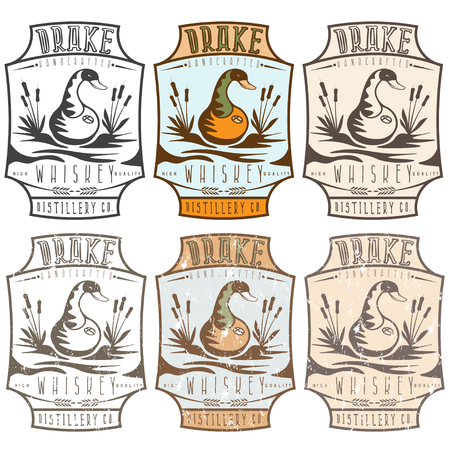 distillation: whiskey labels with copper whiskey still in a form of  duck Illustration