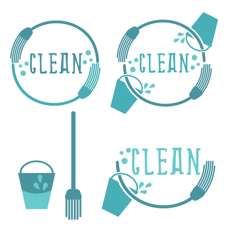 whisk broom: Set of cleaning labels with mop. Vector illustration Illustration
