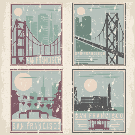 san francisco bay: old style grunge vintage retro posters with San Francisco landmarks Illustration