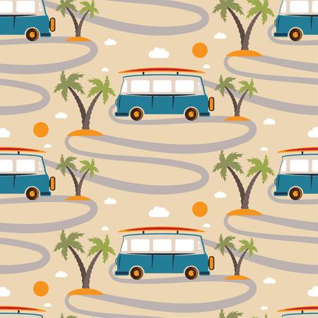 Nahtlose Muster von Retro-Bus mit Surfbrett in Strand mit Palmen. Vektor-Illustration Vektorgrafik