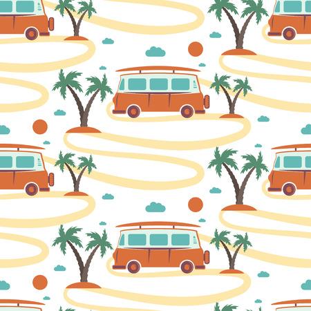 Sin patrón de autobús retro con tabla de surf en la playa con palmeras. ilustración vectorial Foto de archivo - 64205440