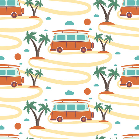 Seamless pattern of retro Bus with surfboard in beach with palms. Vector illustration