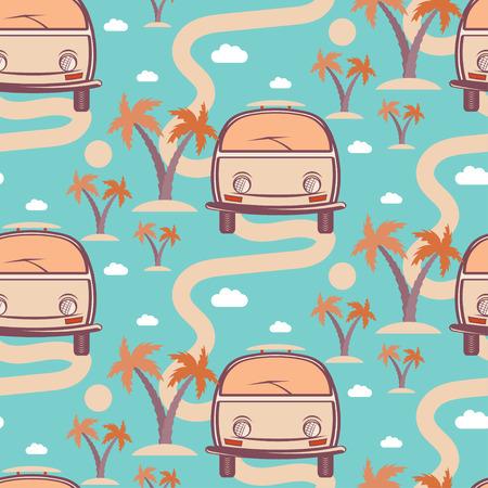 Nahtloses Muster des Retro- Busses mit Surfbrett in Strand mit Palmen . Vektor-Illustration
