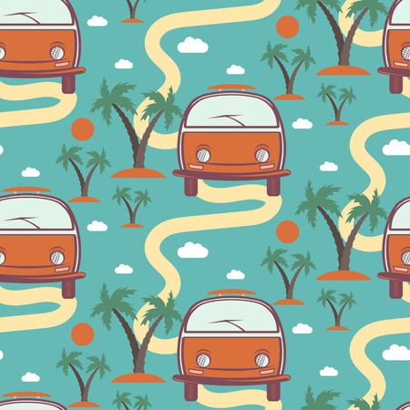 sea weeds: Seamless pattern of retro Bus with surfboard in beach with palms. Vector illustration