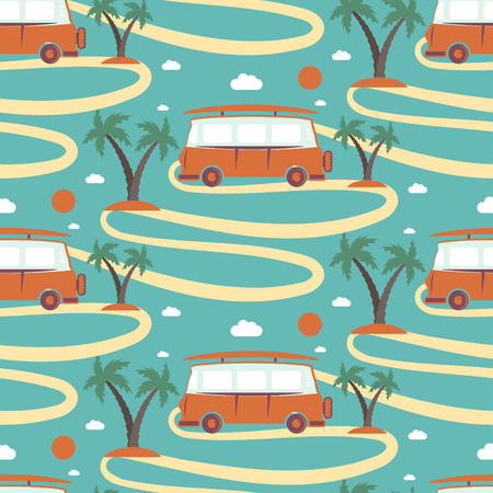 Nahtlose Muster von Retro-Bus mit Surfbrett in Strand mit Palmen. Vektor-Illustration