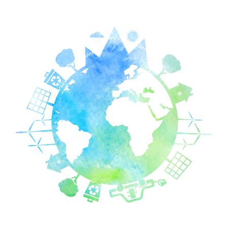 Illustrazioni ad acquerello di concetto di terra con le icone di ecologia, ambiente, energia verde. Vettore Archivio Fotografico - 57121573
